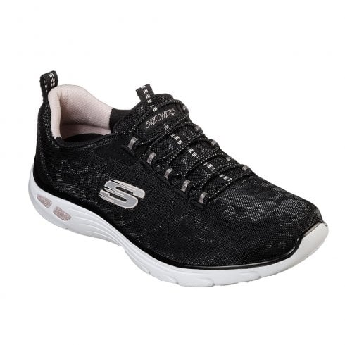 Skechers Womens Relaxed Fit: Empire D'Lux Spotted Mesh Sneakers - Black
