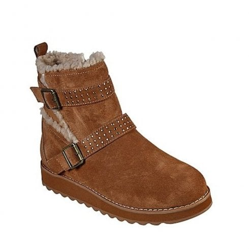 Skechers Womens Fur Ankle Boots - Tan