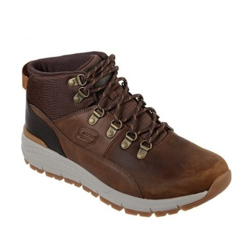 Skechers Mens Relaxed Fit Volero Merix Casual Lace Up Ankle Boots-  Brown
