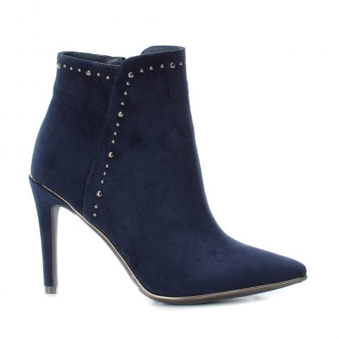 XTI Womens Stiletto Heeled Side Zip Suede Ankle Boots - Navy