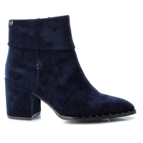 XTI Womens Block Heeled Suede Ankle Boots - Navy