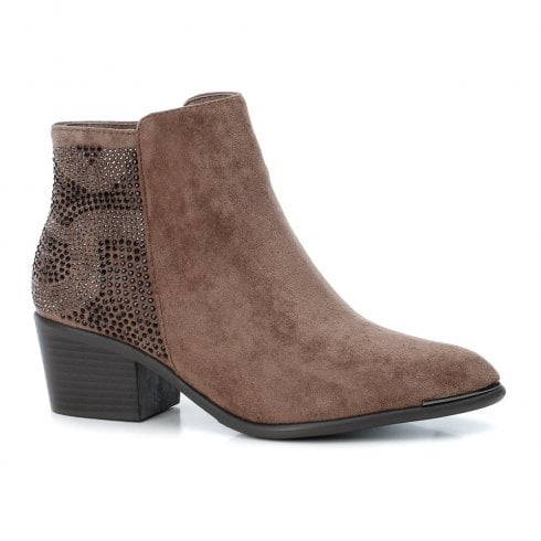 XTI Womens Mid Heeled Block Decorative Studs Ankle Boots - Taupe