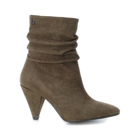 XTI Womens Cone Heel Suede Mid Length Calf Boots - Khaki