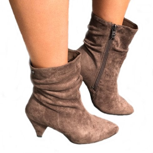 XTI Womens Cone Heel Suede Mid Length Calf Boots - Taupe