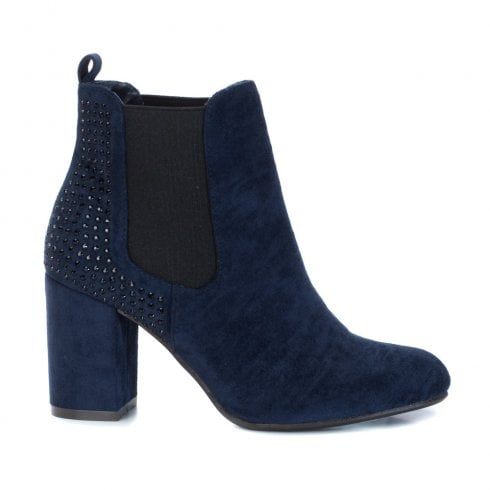 XTI Womens Block Heel Elasticated Side Panels Ankle Boots - Navy