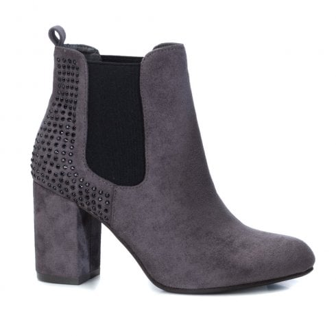 XTI Womens Block Heel Elasticated Side Panels Ankle Boots - Grey