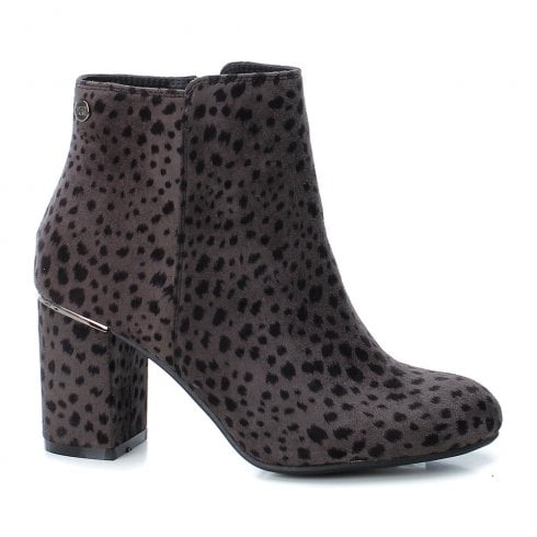 XTI Womens Animal Print Faux Suede High Heeled Ankle Boots - Black