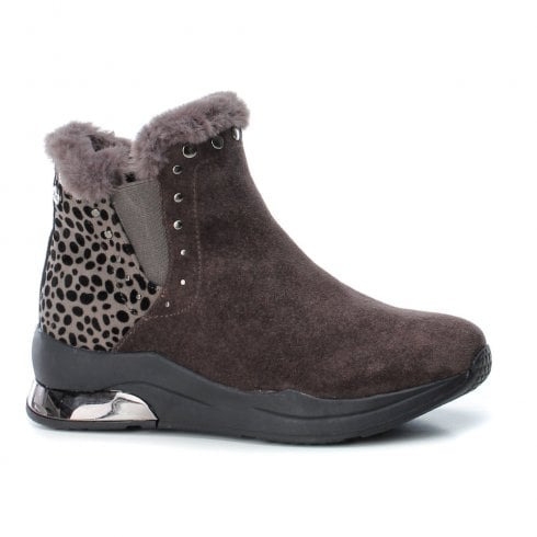 XTI Womens Leopard Print Flat Wedge Ankle Boots , Grey