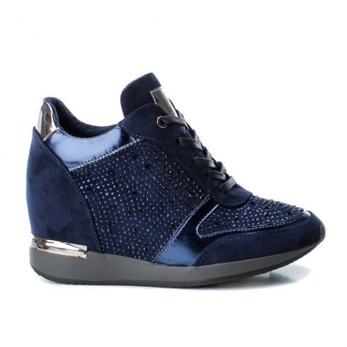 XTI Womens High Inner Wedge Heel Lace Up Sneakers Shoes - Navy