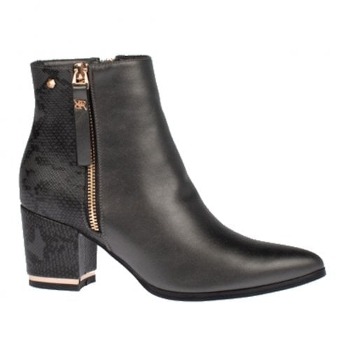 Kate Appleby Erith Snake Gold Zipper Heeled Ankle Boots - Gunmetal Pewter