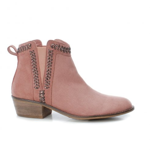 Refresh Womens Low Block Heeled Slip On Suede Ankle Boots - Nude Pink