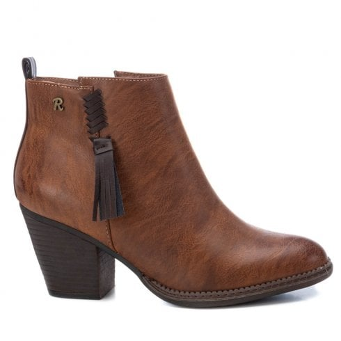 Refresh Womens Block Heeled Cowboy Style Ankle Boots - Camel Brown