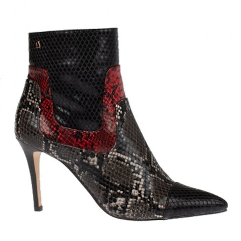 Una Healy Alone Stiletto High Heeled Snake Ankle Boots - Black