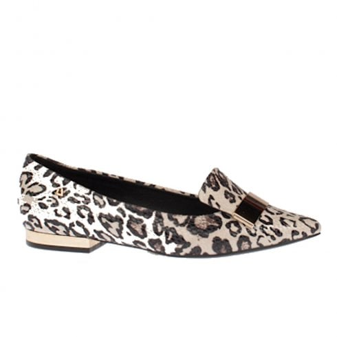 Una Healy Dna Animal Print Flat Slip On Loafers Shoes - Beige/Brown