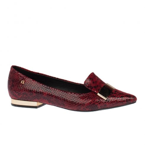Una Healy Dna Snake Pattern Flat Slip On Loafers Shoes - Burgundy Red