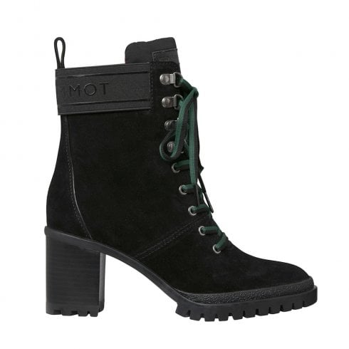 Tommy Hilfiger Lace-Up Block Heel Outdoor Black Suede Ankle Boots