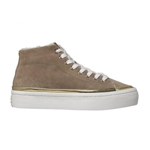 Tommy Hilfiger Womens Suede Beige Warm Ankle Sneakers