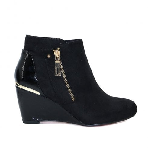 Kate Appleby Leeds Suede Wedge Heeled Ankle Boots - Black