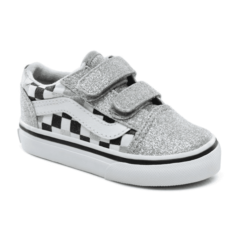 Vans Kids Toddler Glitter Checkerboard Old Skool Velcro Shoes - Silver