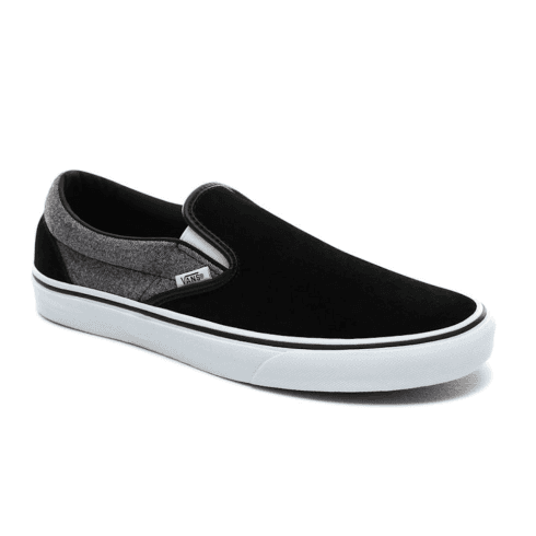 Vans Suede Classic Slip-On Trainers Shoes - Black