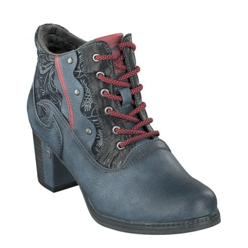 Mustang Eco Leather Low Block Heeled Lace Up Ankle Boots - Dark Blue