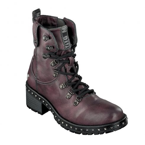 bas prix 2f530 602ad Mustang Womens Flat Lace Up Ankle Boots - Burgundy