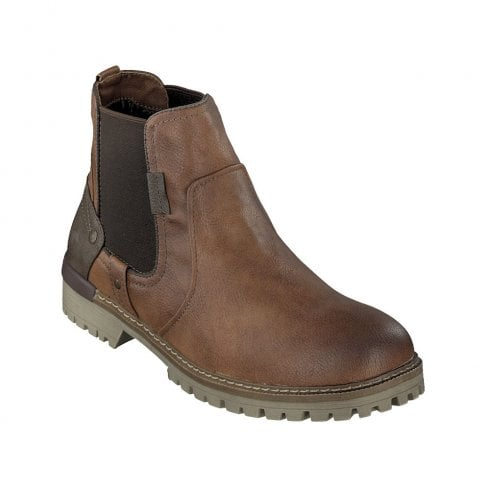 Mustang Mens Cognac Elasticated Sides Ankle Boots
