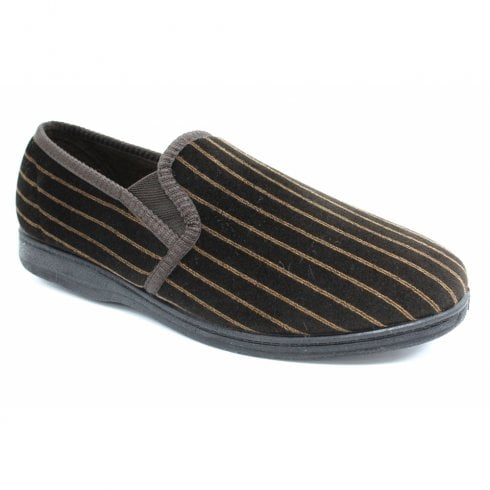 Lunar Goodyear Mens Don Striped Brown Full Soft Slippers KMG131