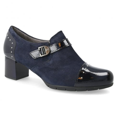 Pitillos Womens Patent Suede Leather Mid Heeled Ankle Boots - Navy