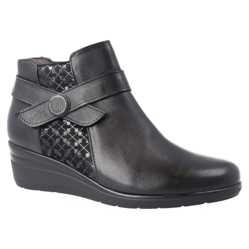 Pitillos Womens Mid Heeled Wedge Leather Ankle Boots - Black