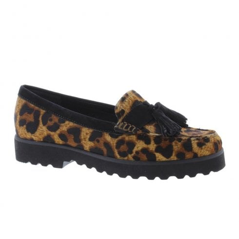 Capollini Womens Georgia Leopard Flat Loafer Shoes