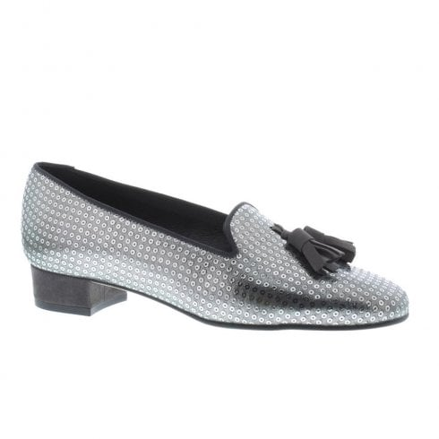 Capollini Womens Athena Elegant Silver Leather Loafer Shoes