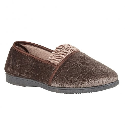 Lotus Womens Georgette Taupe Velour Slippers