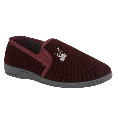 Lotus Mens Jaxon Burgundy Corduroy Upper Full Shoe Slippers