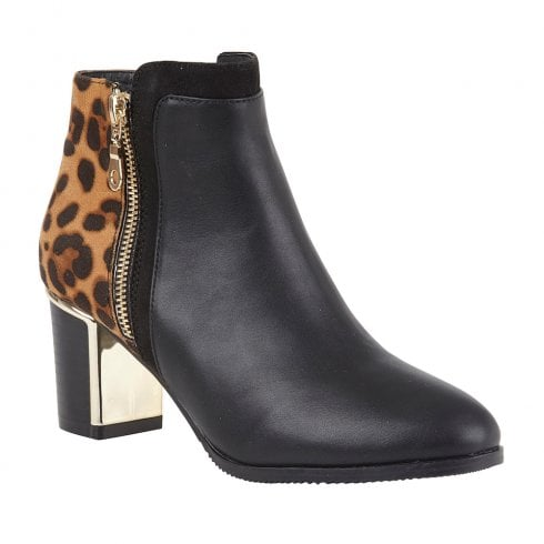 Lotus Womens Black Greeve Leopard-Print Ankle Boots