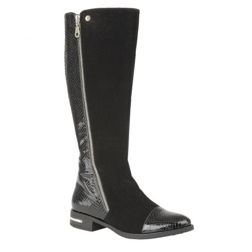 Lotus Womens Black Pontal Microfibre & Patent Knee-High Flat Boots
