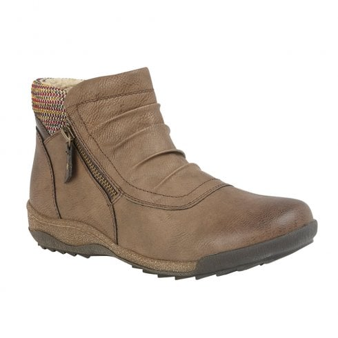 Lotus Womens Taupe Violette Zip-Up Flat Casual Ankle Boots