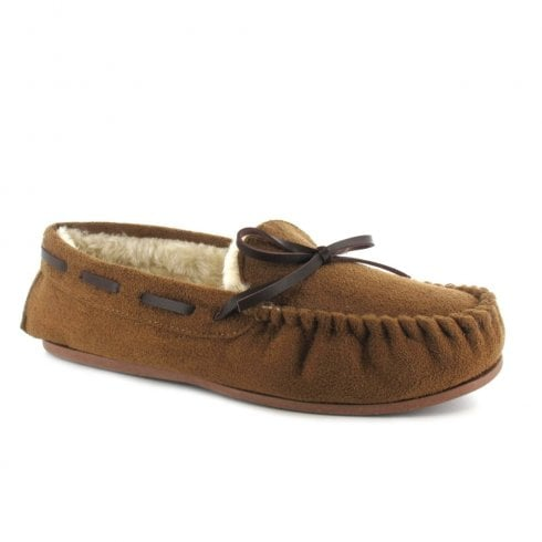 Ella Shoes Ella Luxury Faith Suede Chestnut Brown Ladies Moccasin Slippers