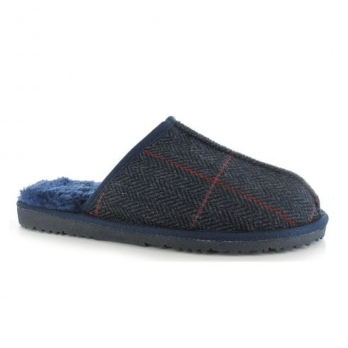 Ella Shoes Ella Luxury Jimmy Men's Navy Checkerd Mule Slippers