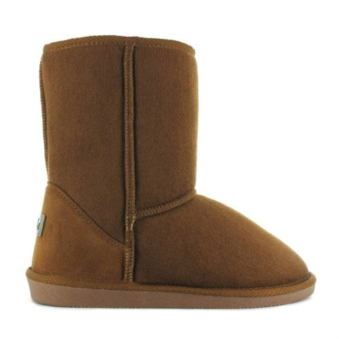 Ella Shoes Ella Luxury Chestnut Tan Suede Midi Calf Sized Fur Boots