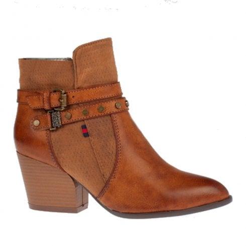 Escape Shoes Escape Womens Meriden Fudge Tan Leather Block Heeled Ankle Boots