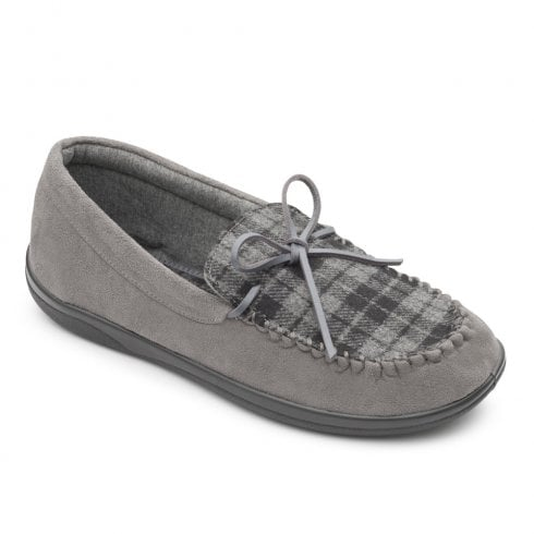 Padders Men's Lounge Grey Moccasin Style Slippers