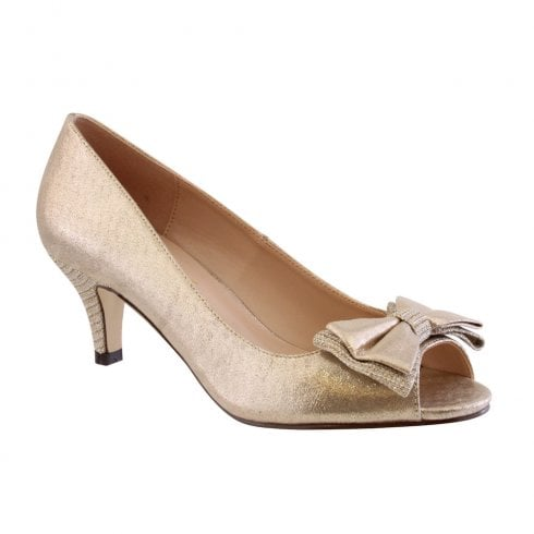 Barino Gold Peep Toe Bow Occasion Low Heeled Shoes - 470