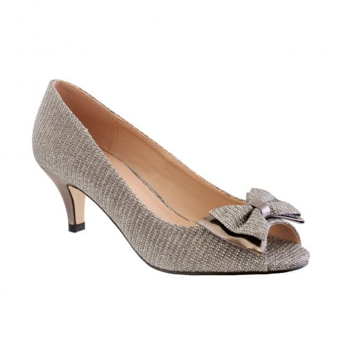 Barino Silver Peep Toe Bow Occasion Low Heeled Shoes - 470