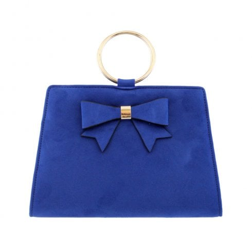 Barino Womens Blue Bow Trim Ring Handle Bag - 466