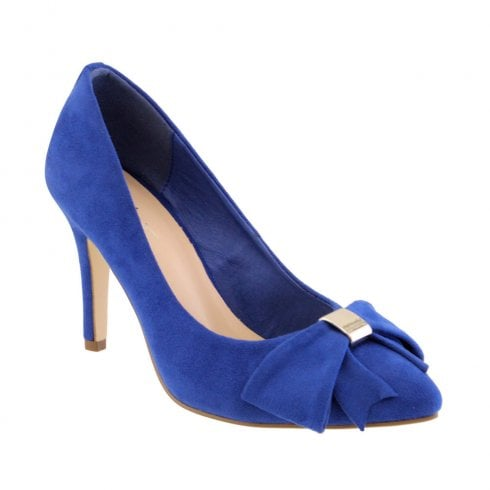 Barino Blue Bow Trim High Heeled Occasion Court Shoes - 466