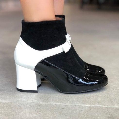 Unica ID 18579 Womens Block Heel Dressy Boots White/Black