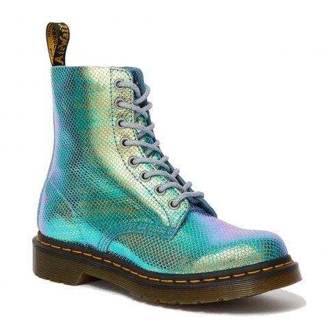 Dr. Martens Dr Martens Womens 1460 Blue Pascal Iridescent Leather Ankle Boots