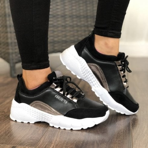 Susst Womens Black Chunky Sporty Trainer Shoes - Lulu9