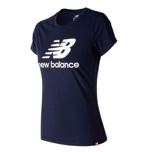 New Balance Womens Essentials Stacked Logo Tee Navy T-Shirt